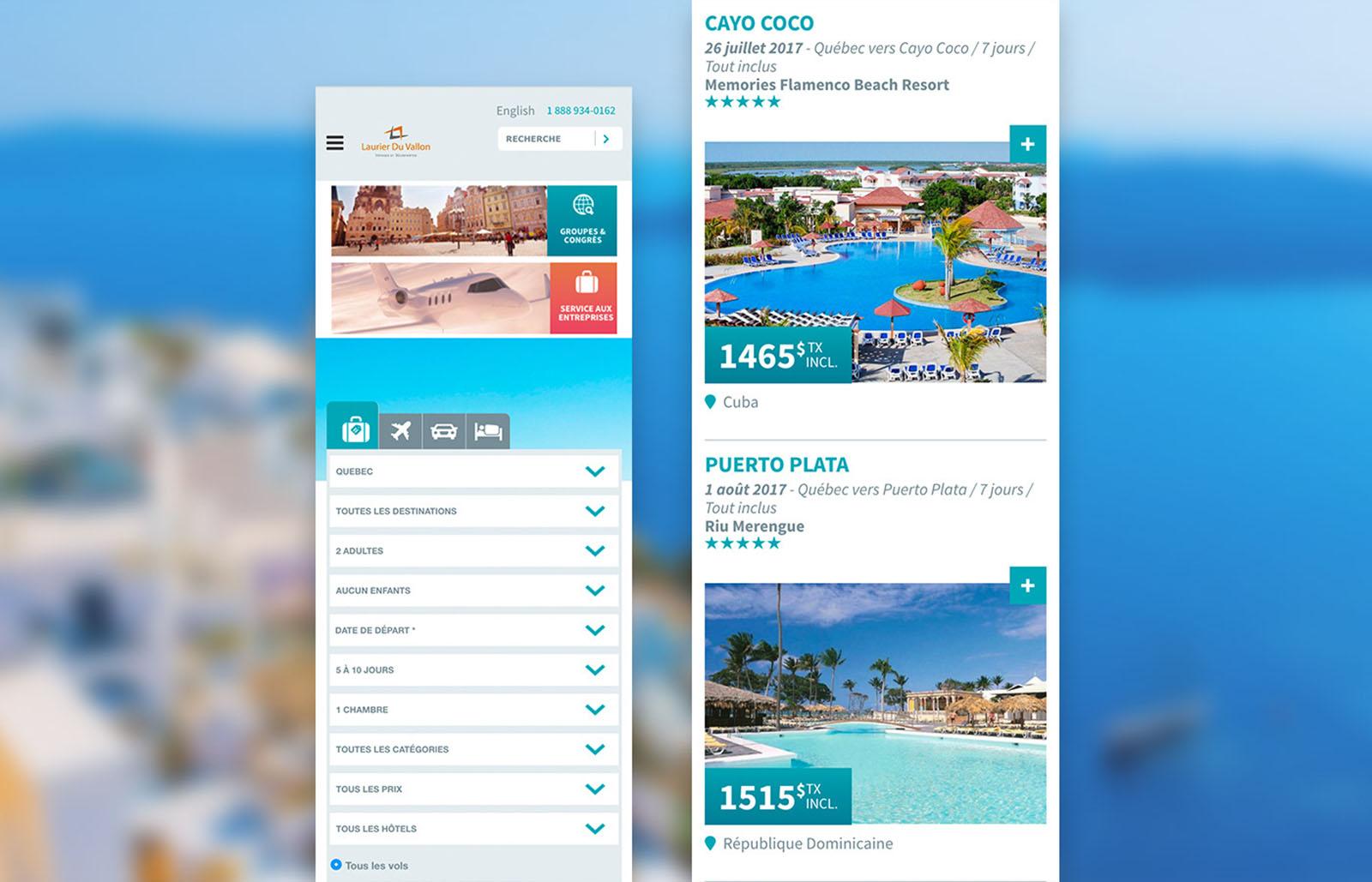 Voyages Laurier Du Vallon - Web Mobile