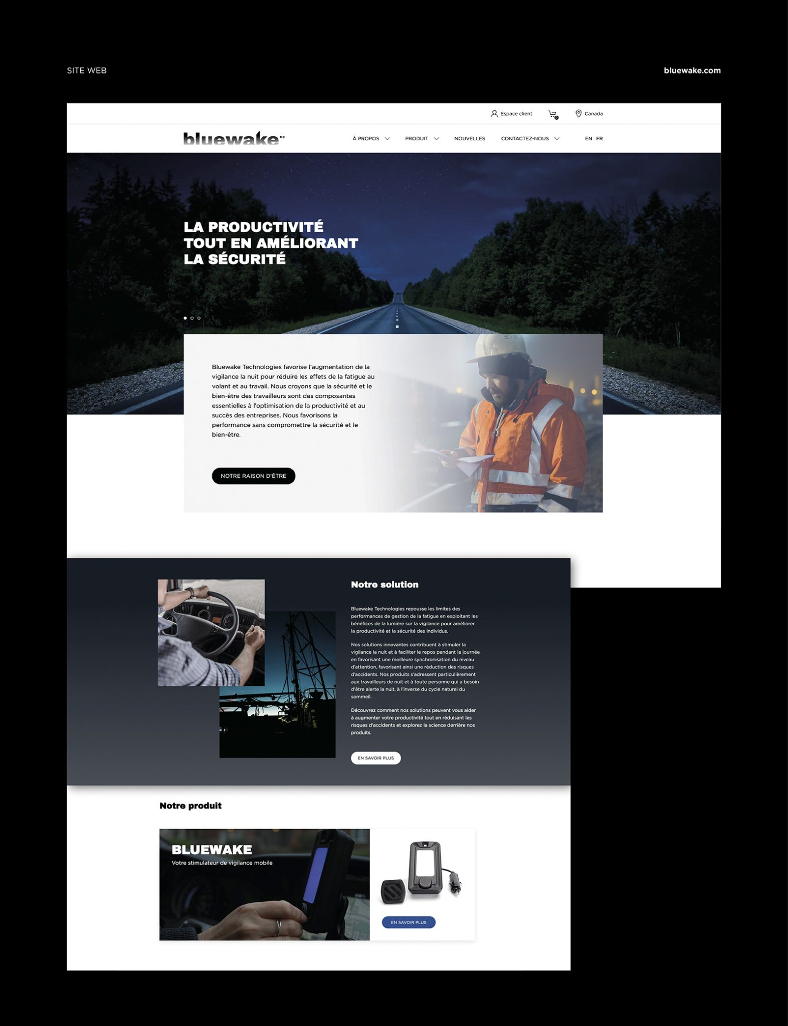 Accueil Site web Bluewake